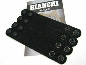 """4 Pack Bianchi Black Nylon PatrolTek 1"""" Wide Belt Keepers Black Snaps USA Seller"""