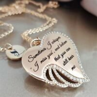 Crystal Gold Necklace Pendant Chain Hollow out Heart Jewelry Angel Wing Women