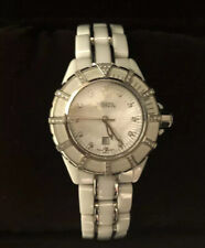 Mother of Pearl Date Ceramic Watch Bulova Accutron 65R137 Women's Analog Diamond