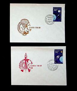 KAZAKHSTAN 1999 TM-28 & TM-29 SPACE SHUTTLE MISSION 2 ILLUSTRATED COVERS W/ 2v