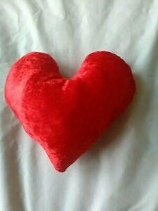 RED Crushed Velvet Heart Shape Cushion Handmade new