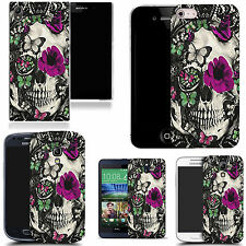gel rubber case cover for  Mobile phones - purple floral skull silicone