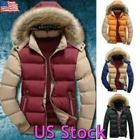 US Mens Winter Warm Fur Hooded Parka Coat Padded Zip Puffer Jacket Thick Outwear