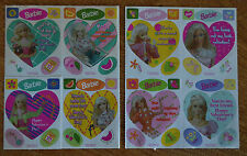 Lot 8 Original VINTAGE 1997 BARBIE Valentine Day Kids STICKER Cards Mello Smello