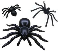 Scary HALLOWEEN Practical Joke Plastic SPIDERS Party Trick Fake Toy Bugs 3 SIZES