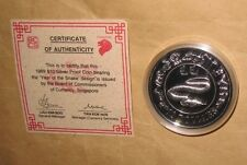 1989 SINGAPORE lunar Yr.SNAKE $10 SILVER PROOF COIN with coa