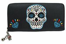 Banned Black Blue Sugar Skull Diamond Wallet Purse Black Faux Vegan Leather