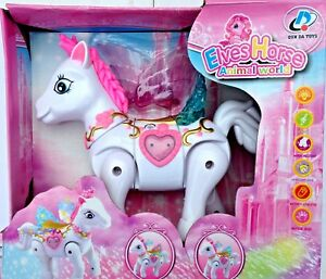 UNICORN ELECTRIC PINK & WHITE BUMP AND GO FLASHING LIGHTS & SOUND - IDEAL GIFT
