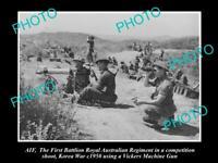 OLD 8x6 HISTORIC PHOTO 1st AUSTRALIAN BATTALION MACHINE GUN COMP KOREA c1950
