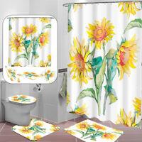Modern Bathroom Shower Curtain + Non-Slip Rug + Toilet Lid Cover + Bath Mat  O