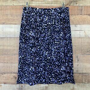 Pendleton Floral Midi A-Line Skirt Pockets Black Blue Size 12 NWOT
