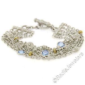 "Judith Ripka Silver & 18k Gold 7.5"" Checkerboard Blue Topaz Multi Chain Bracelet"