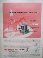1/1960 PUB HR HYDRAULIC RESEARCH BELL AIRCRAFT CONTROL SYSTEMS ORIGINAL AD