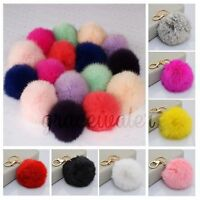 Soft Fluffy Genuine Rabbit  PomPom Car Keychain Handbag Charm Key Rings Fur Ball