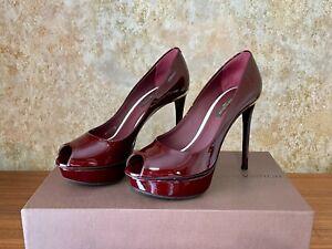 Louis Vuitton Burgundy Patent Leather Eyeline Peep-Toe Pumps EUR 35 UK 2.5