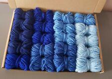 Blue Ombre Dk Wool job lot knitting crochet crafts pom pom squares craft macrame