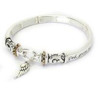 Angel Wing Serenity Prayer Inspirational Religious Bangle Bracelet Silver NEW