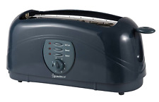 Graphite Grey Powerful 4 Slice Long Slot Kitchen Bread Toaster - UK Power Plug
