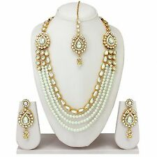 New Indian Bollywood Fashion Gold Plated Wedding Pearl Long Necklace Jewelry Set