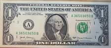 2017 A Repeater Fancy Serial Number Dollar Fresh From BPE Crisp Uncirculated
