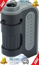 Microscope 60x 120x LED Light Pocket Mini Magnifier Loupe Glass Zoom Small Lens