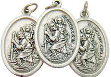 Set of 3 Saint Christopher Patron Saint Travel Silver Plate Medal Pendant Italy