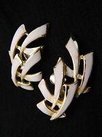 VTG 1950s Gold Tone PEGASUS CORO White Enamel Abstract Clip Earrings