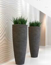 Polystone ripple wavy tapered cylinder planter anthracite graphite grey or sand