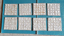 Unique Vintage CAPIZ SHELL Square Chips w/ Linen Style Material on Back, 8 Total