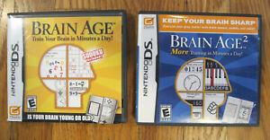 Brain Age Train Your Brain 1 & 2 Bundle Lot Nintendo DS Complete - Free Shipping