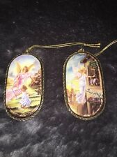 """The Bradford Exchange """"Perpetual Love"""" & """"Helping Hands On High"""" Angel Ornaments"""
