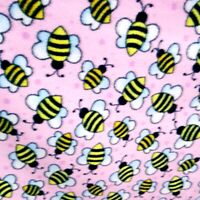 "Fleece Fabric HAPPY BEES PRINT PINK FLEECE 60"" By The Yard BUMBLE BEES"