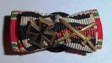 GERMAN - 5 Place, Button Bar. Rare Combination, with mini Iron Cross, & Swords