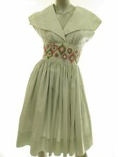 Original Vintage 1950s PAT HARTLY Full Skirt Rockabilly Swing Striped Day Dress