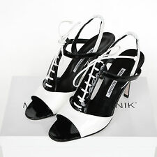 MANOLO BLAHNIK $841 black white lace up saddle shoes patent leather heels 38 NEW