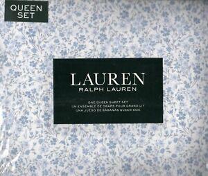 Ralph Lauren Queen Sheet Set Meadow Floral 4pc Classic Cottage Blue White Gray