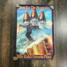 """Vintage 1985 Busch Beer Poster 27""""x19"""" Billy Kidd Skiing Head For The Mountains"""