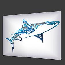 DISEGNO ASTRATTO BLU SHARK ARTE MODERNA IMMAGINE STAMPA SU TELA 76.2X50.8cm