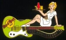 Hard Rock Cafe HOLLYWOOD 1998 1st Anniversary PIN - Lime Guitar w/Waitress #2970