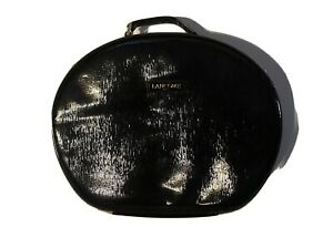 LANCOME Paris Train Case Makeup Bag Travel CarryOn Patent Leather Zip Around