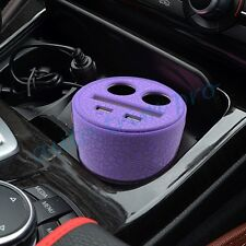 Auto Charger Dual USB Cup Holder Multifunction Power Adapter 2 Cigarette Socket