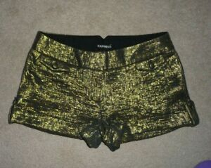 Express Metallic Gold Cuffed trouser dress party short Shorts Size 6 NEW $60