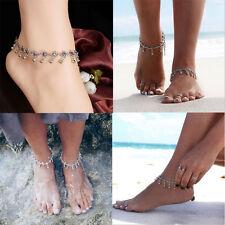 Women Anklet Silver Bead Chain Ankle Bracelet Barefoot Sandal Beach Foot Jewelry