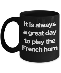 French Horn Mug Black Coffee Cup Funny Gift for Musician Brass Instrument