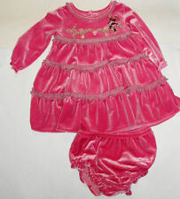 DISNEY MINNIE MOUSE RUFFLE DRESS 9-12 MONTHS BABY GIRL SHIMMER VELOUR SET BNWT