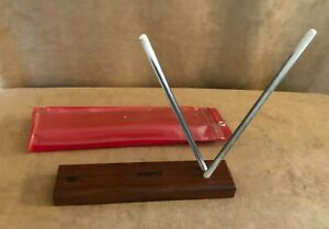 Hoffritz Knife Scissor Sharpener Crock Sticks Solid Wood base case red vintage