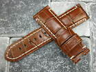 24mm Brown Alligator Grain Leather Strap Watch Band Tang Buckle for PANERAI A