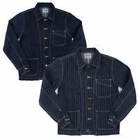 Men's Railroad Denim Jacket Vintage Striped Work Jeans Casual Outwear Coat Tops