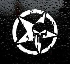 PUNISHER STAR SKULL PENTAGRAM DECAL LOGO  CAR/VAN/LAPTOP VINYL STICKER GRUNGE