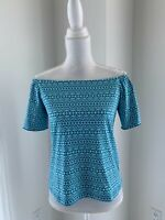 J. Mclaughlin Blue & Aqua Print Stretch Knit Off The Shoulder Top SZ XS